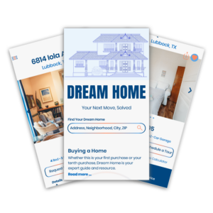 Three screenshots from the Dream Home real estate app