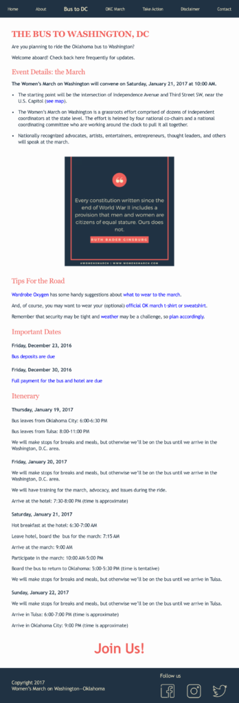 Women's March on Washington--OK information about the bus to DC