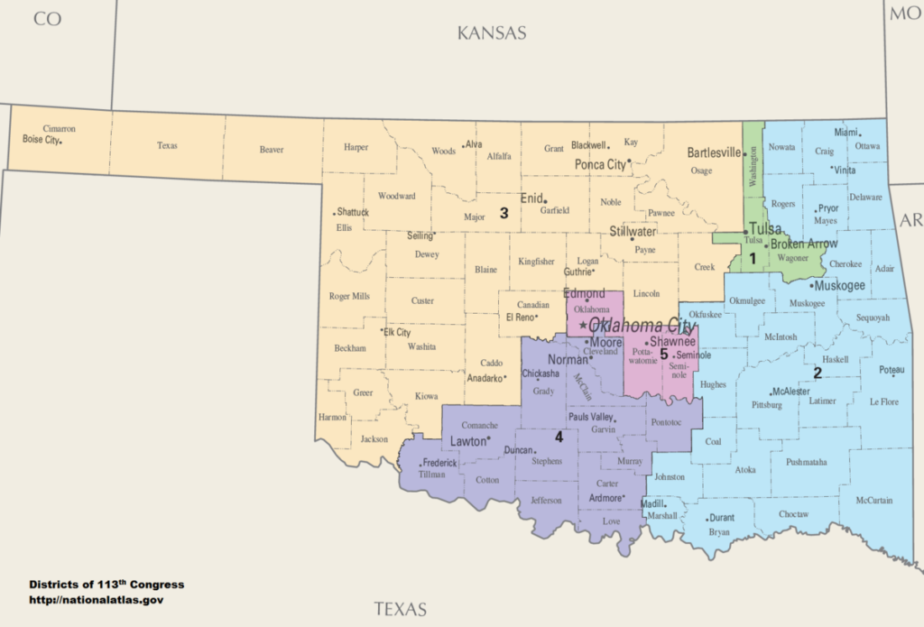 Congressional district map of Oklahoma